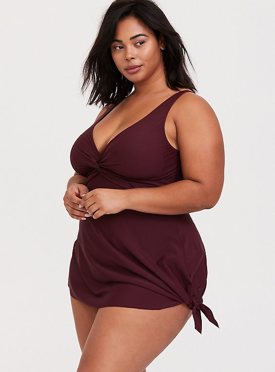 Plus Size Burgundy Red Asymmetrical Wireless One-Piece Swim Dress, , hi-res