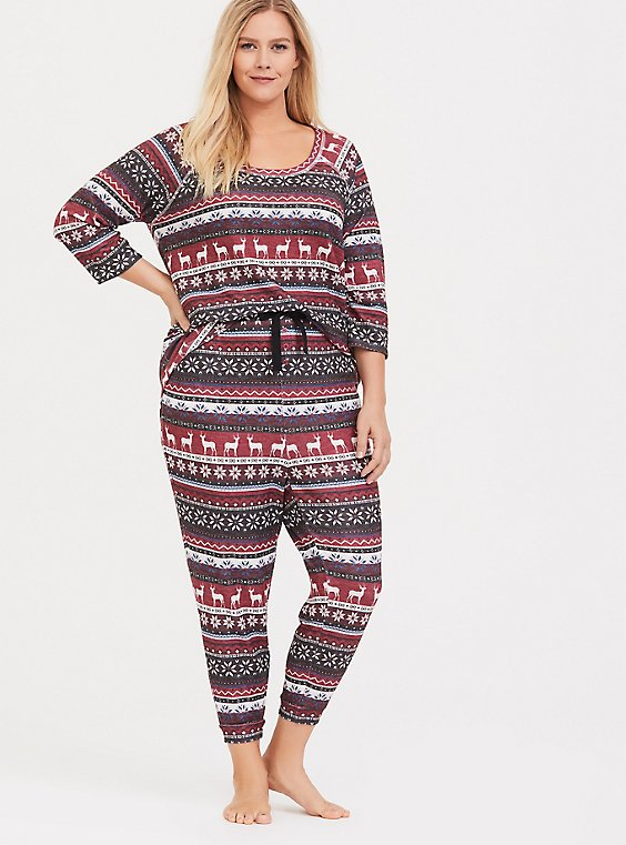 Red Fair Isle Sleep Jogger, , hi-res