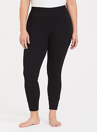 Black Waffle-Knit Sleep Legging, DEEP BLACK, alternate