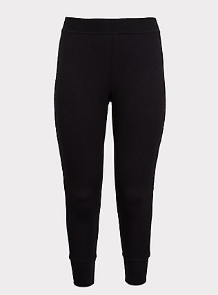 Black Waffle-Knit Sleep Legging, DEEP BLACK, flat