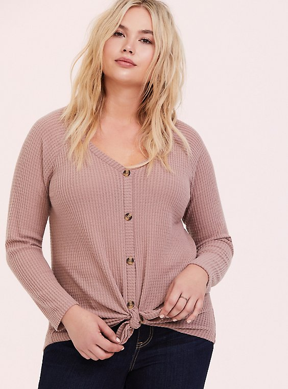 Plus Size Taupe Waffle Knit Button Front Long Sleeve Tee, , hi-res