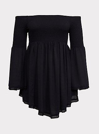 Black Crinkled Gauze Smocked Off Shoulder Dress Swim Cover Up, DEEP BLACK, flat