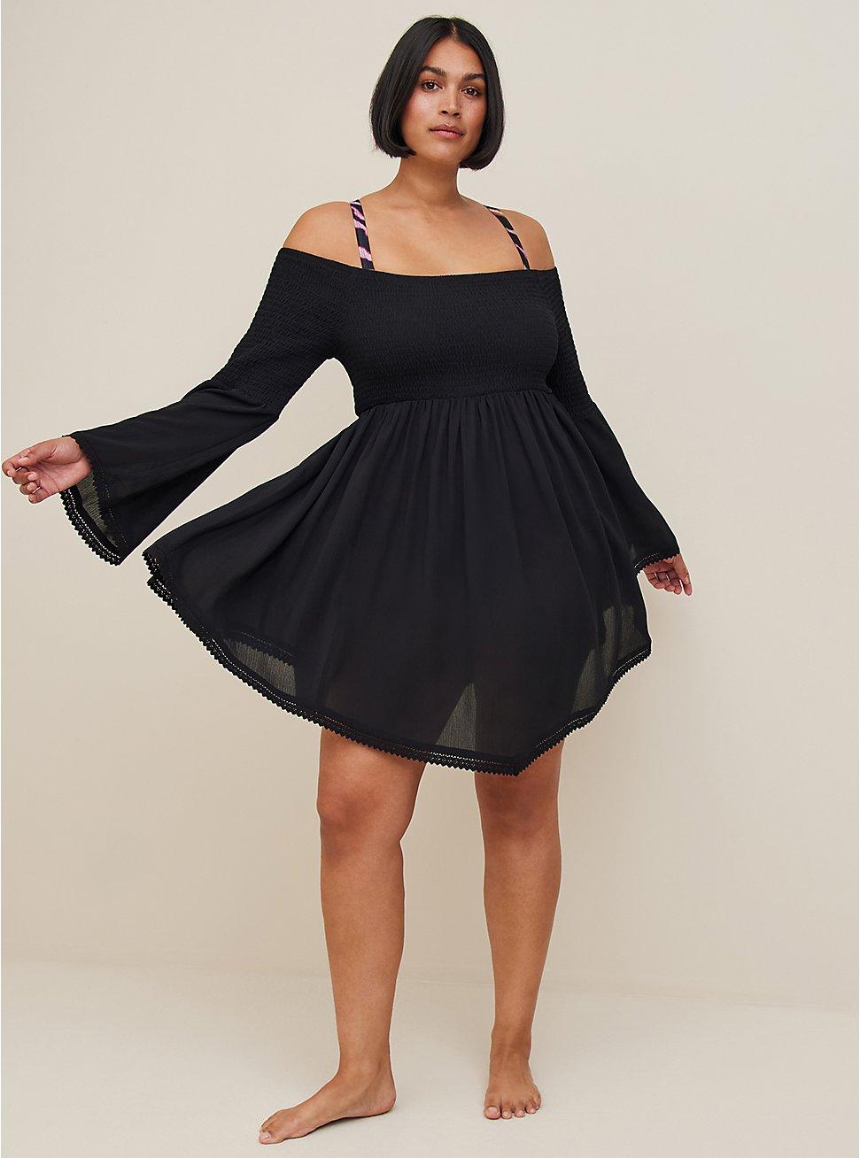 Black Crinkled Gauze Smocked Off Shoulder Dress Swim Cover Up, DEEP BLACK, hi-res
