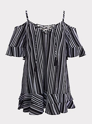 Plus Size Black & White Striped Cold Shoulder Dress Swim Cover Up, MULTI, flat