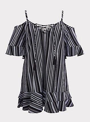 Black & White Striped Cold Shoulder Dress Swim Cover Up, MULTI, flat