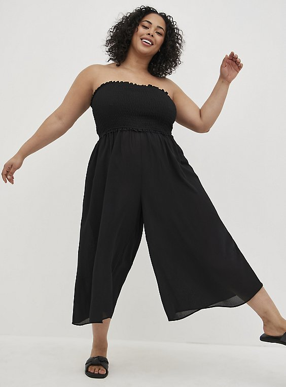 Black Smocked Strapless Jumpsuit Swim Cover Up, , hi-res