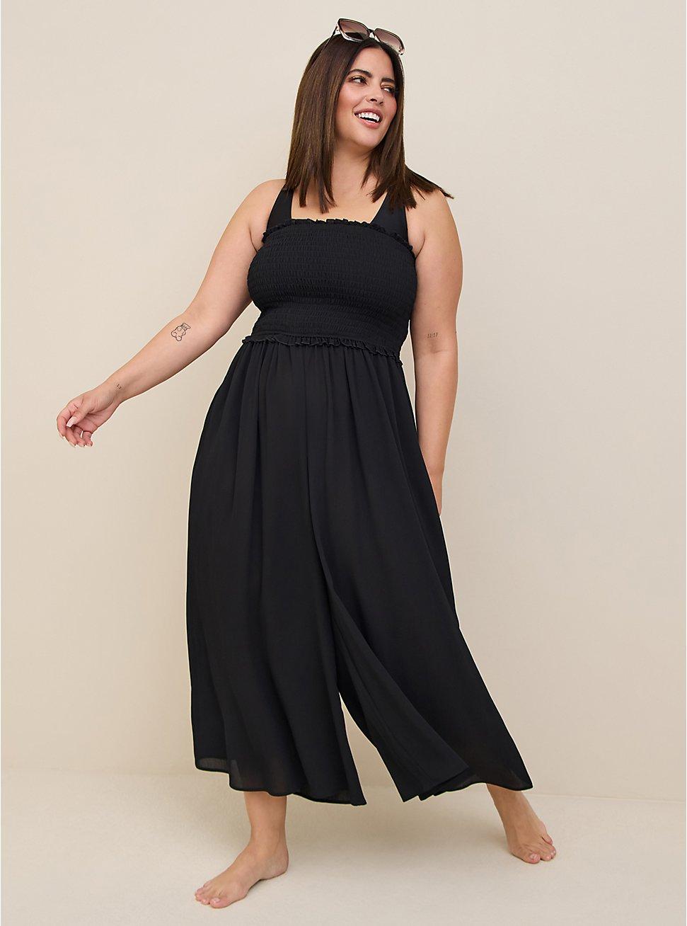 Black Crinkled Crepe Strapless Culotte Jumpsuit Swim Cover-Up, DEEP BLACK, hi-res