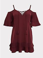 Burgundy Red Cold Shoulder Dress Swim Cover Up, BURGUNDY, hi-res