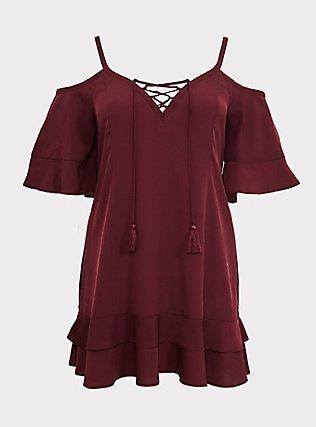 Burgundy Red Cold Shoulder Dress Swim Cover Up, BURGUNDY, flat