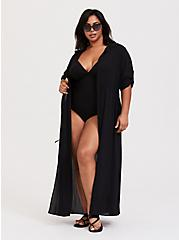 Black Crinkled Maxi Shirt Dress Swim Cover-Up, DEEP BLACK, alternate