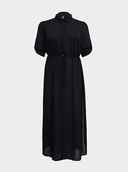 Plus Size Black Crinkled Maxi Shirt Dress Swim Cover-Up, DEEP BLACK, hi-res