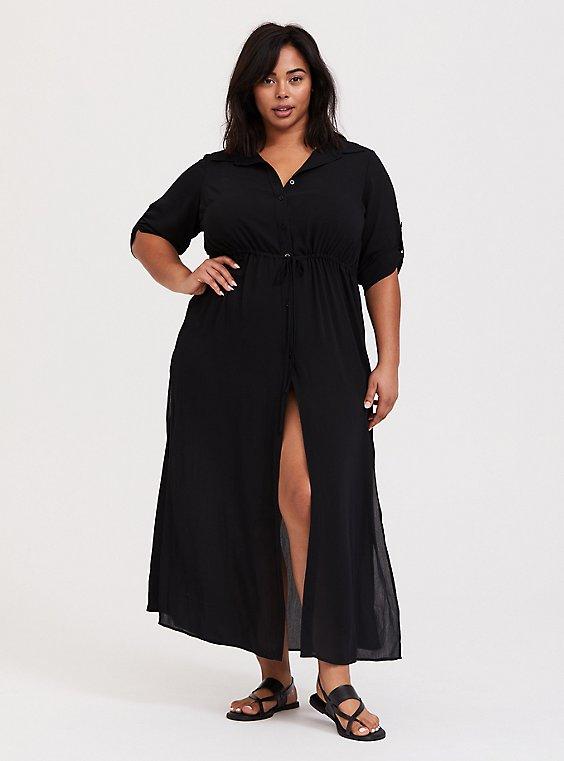 Plus Size Black Button Front Maxi Dress Swim Cover Up Torrid