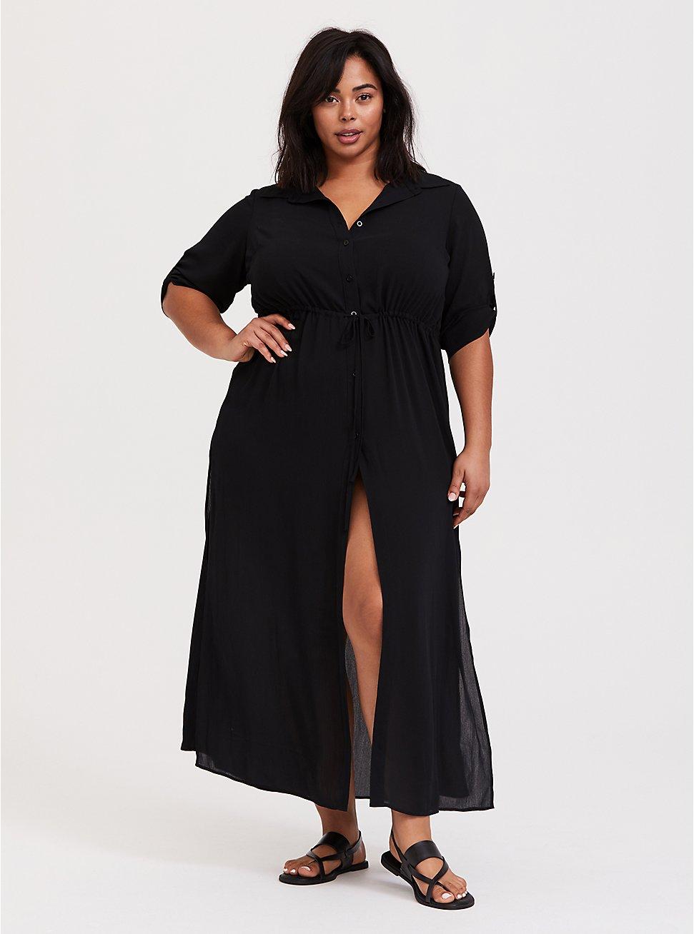 Black Crinkled Maxi Shirt Dress Swim Cover-Up, DEEP BLACK, hi-res