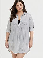 Grey Stripe Crinkle Gauze Button Front Shirt Dress Swim Cover Up , MULTI, alternate
