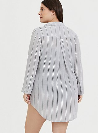 Plus Size Grey Stripe Crinkle Gauze Button Front Shirt Dress Swim Cover-Up , MULTI, alternate