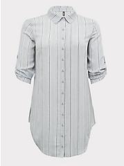 Grey Stripe Crinkle Gauze Button Front Shirt Dress Swim Cover Up , MULTI, hi-res