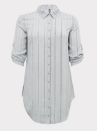 Plus Size Grey Stripe Crinkle Gauze Button Front Shirt Dress Swim Cover-Up , MULTI, flat