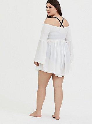 Ivory Crinkle Gauze Smocked Off Shoulder Dress Swim Cover Up, IVORY, alternate