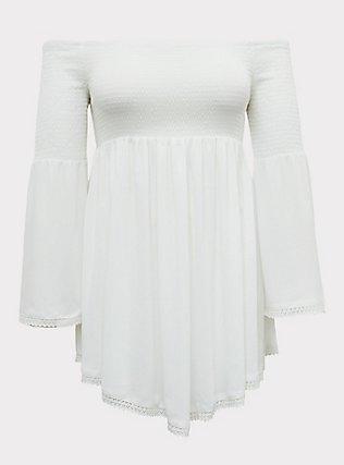 Ivory Crinkle Gauze Smocked Off Shoulder Dress Swim Cover Up, IVORY, flat