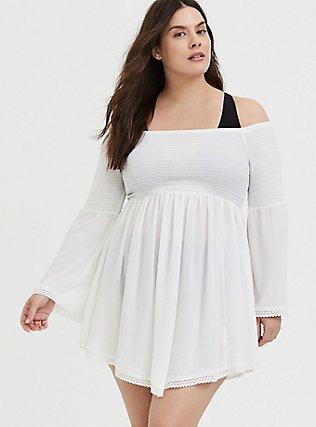 Ivory Crinkle Gauze Smocked Off Shoulder Dress Swim Cover Up, IVORY, hi-res