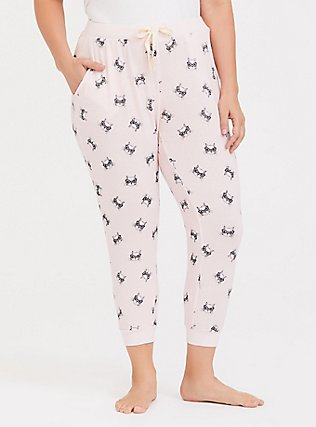 Light Pink Cat Drawstring Crop Sleep Jogger, MULTI, alternate