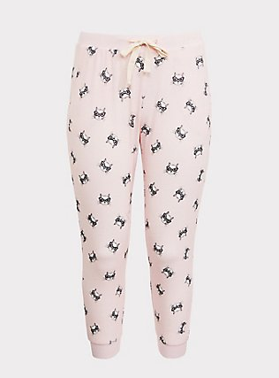 Light Pink Cat Drawstring Crop Sleep Jogger, MULTI, flat