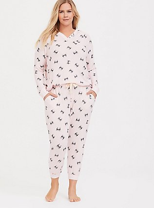 Light Pink Cat Drawstring Crop Sleep Jogger, MULTI, hi-res