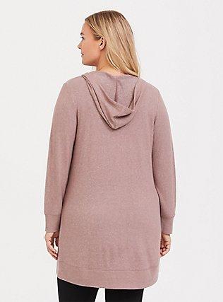 Plus Size Taupe Brush Knit Sleep Tunic Hoodie, GREY, alternate
