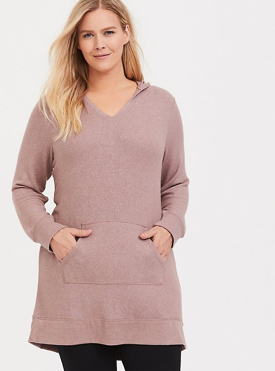 Taupe Brush Knit Sleep Tunic Hoodie, , hi-res