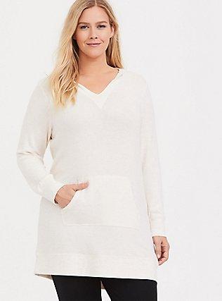 Plus Size Heathered Ivory Brush Knit Sleep Tunic Hoodie, HEATHER GREY, hi-res