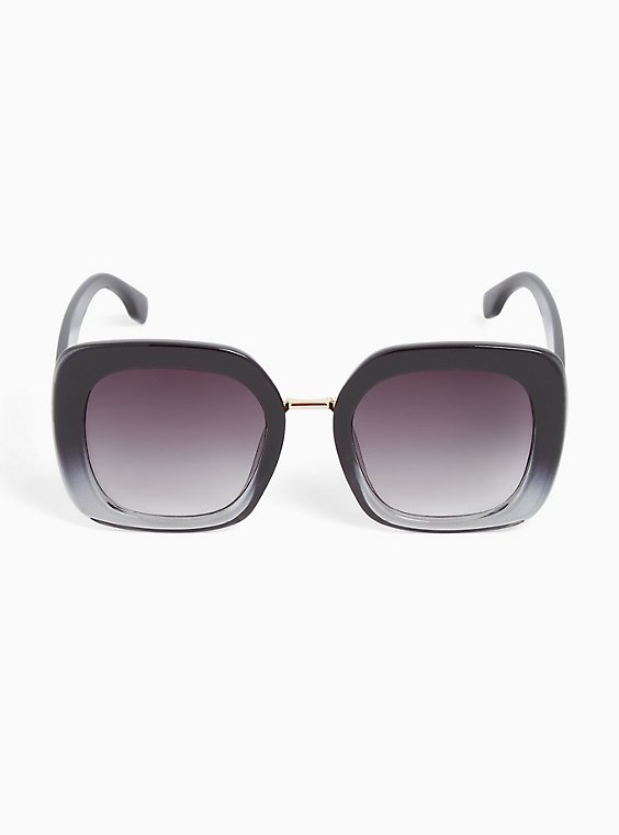 Plus Size Black Ombre Square Sunglasses, , hi-res
