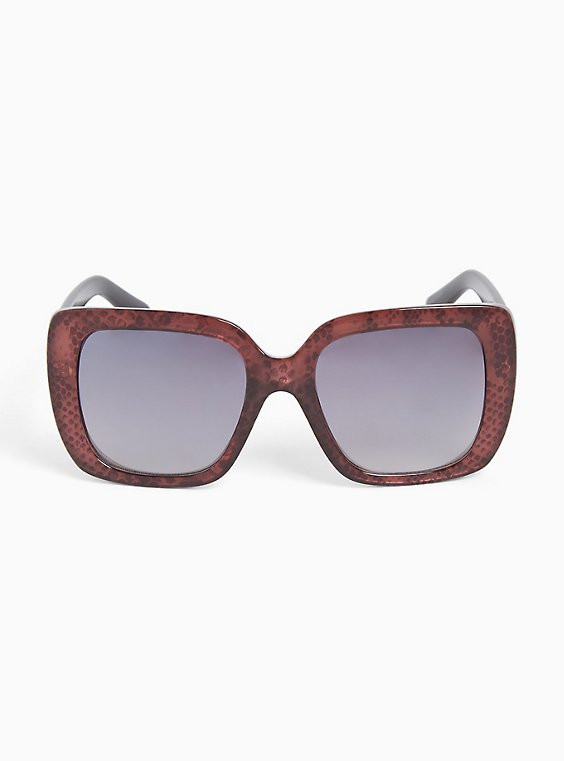 Burgundy Red Snake Print Square Sunglasses, , hi-res