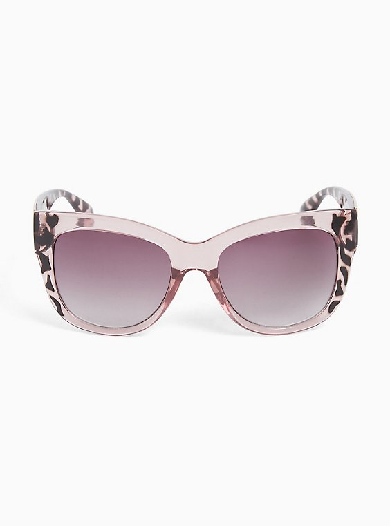 Plus Size Pink Leopard Cat Eye Sunglasses, , hi-res