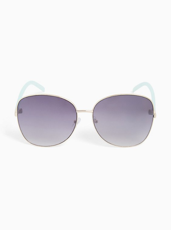 Gold-Tone & Mint Green Aviator Sunglasses, , hi-res
