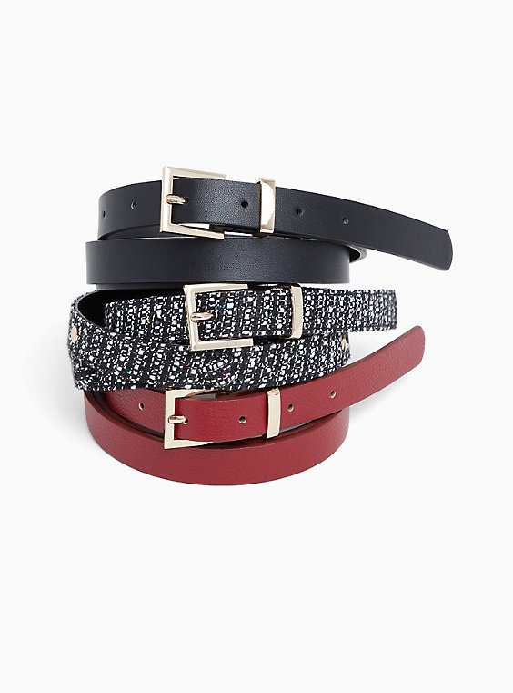 Black Marled Textured Belt Pack - Pack of 3, , hi-res