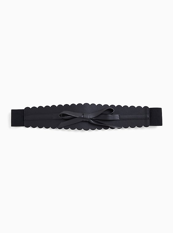Black Faux Leather & Stretch Bow Belt, , hi-res
