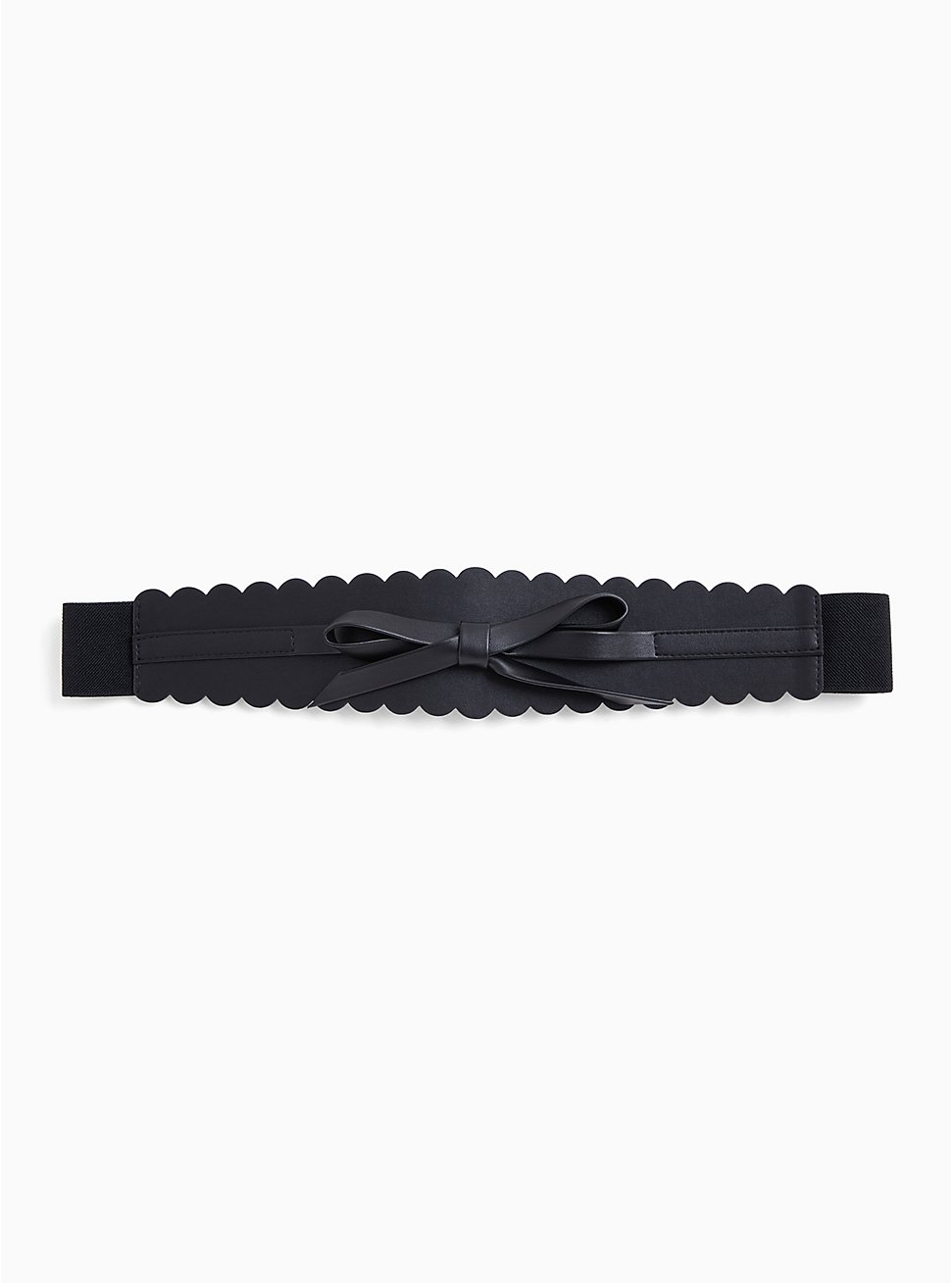 Black Faux Leather & Stretch Bow Belt, BLACK, hi-res