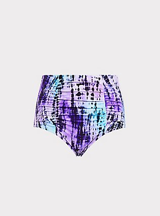 Plus Size Blue & Purple Tie-Dye High Waist Ruched Swim Bottom, MULTI, flat