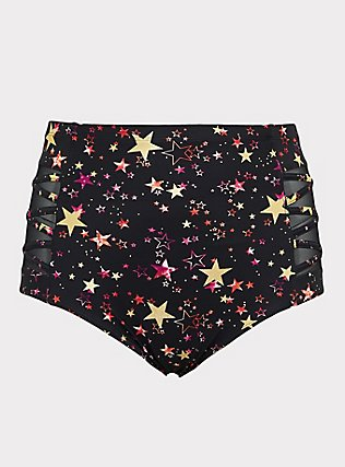 Plus Size Black & Gold Foil Star Lattice High Waist Swim Bottom, MULTI, ls