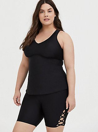 Plus Size Black Racerback Wireless Tankini Top, DEEP BLACK, hi-res