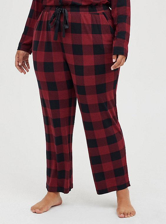 Red & Black Plaid Drawstring Sleep Pant, , hi-res