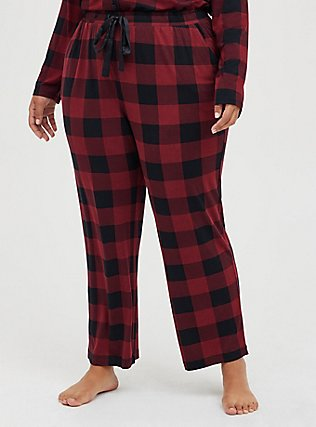 Red & Black Plaid Drawstring Sleep Pant, MULTI, hi-res