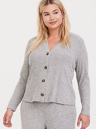 Grey Hacci Button Front Sleep Cardigan, GREY, alternate