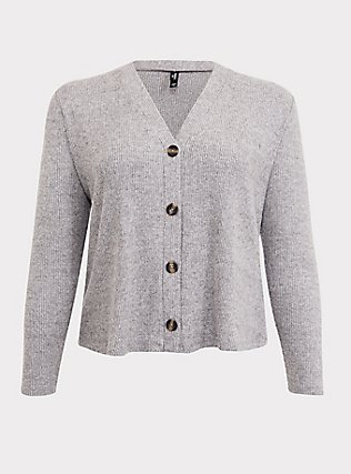 Grey Hacci Button Front Sleep Cardigan, GREY, flat