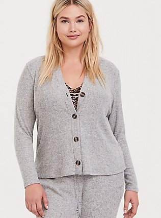 Grey Hacci Button Front Sleep Cardigan, GREY, hi-res