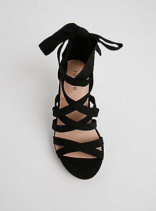 Black Faux Suede Strappy Platform Heel (WW), BLACK, alternate