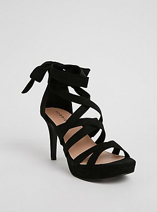 Black Faux Suede Strappy Platform Heel (WW), BLACK, hi-res