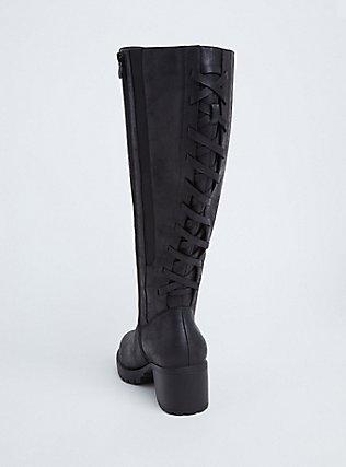 Black Faux Leather Corset Back Knee-High Boot (WW), BLACK, alternate