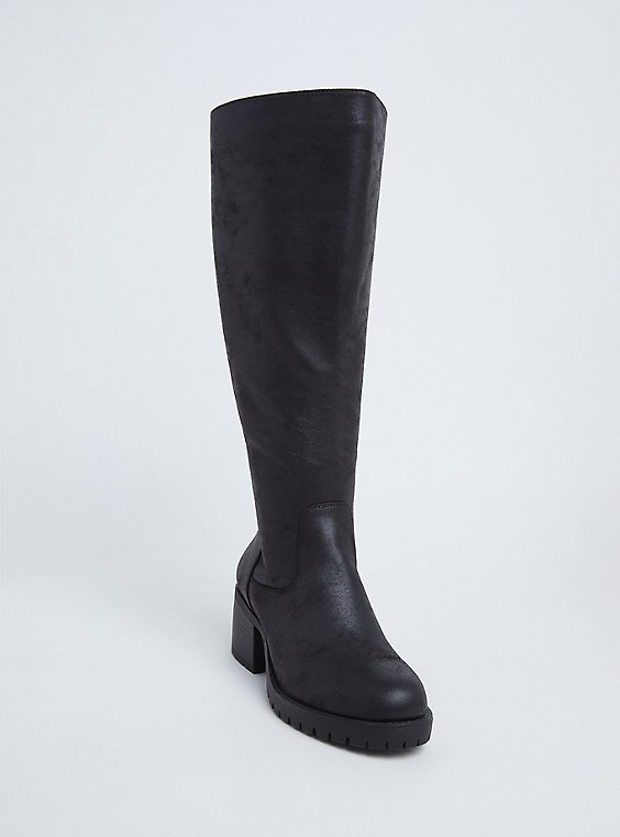 Plus Size Black Faux Leather Corset Back Knee-High Boot (WW), , hi-res
