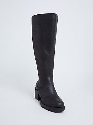 Black Faux Leather Corset Back Knee-High Boot (WW), BLACK, hi-res